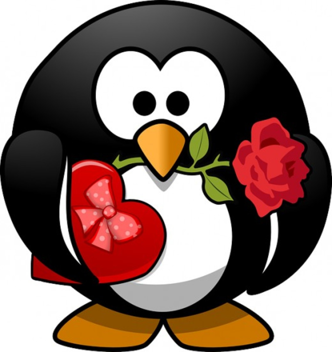 Penguin with Rose and Valentine's Candy Box