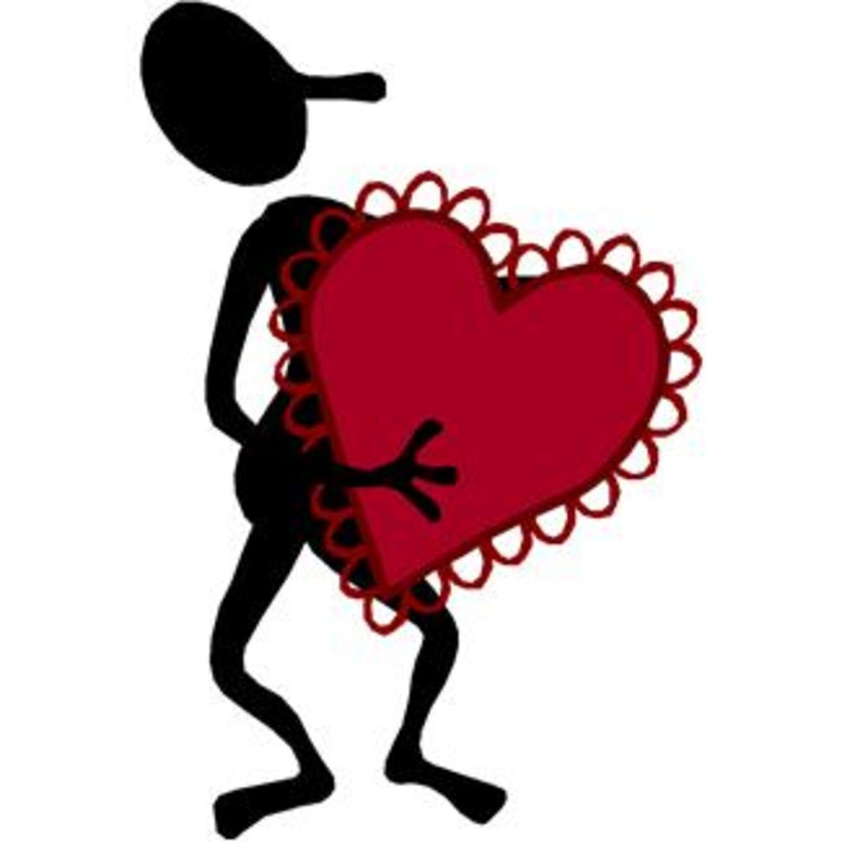 Cartoon Man holding Giant Heart