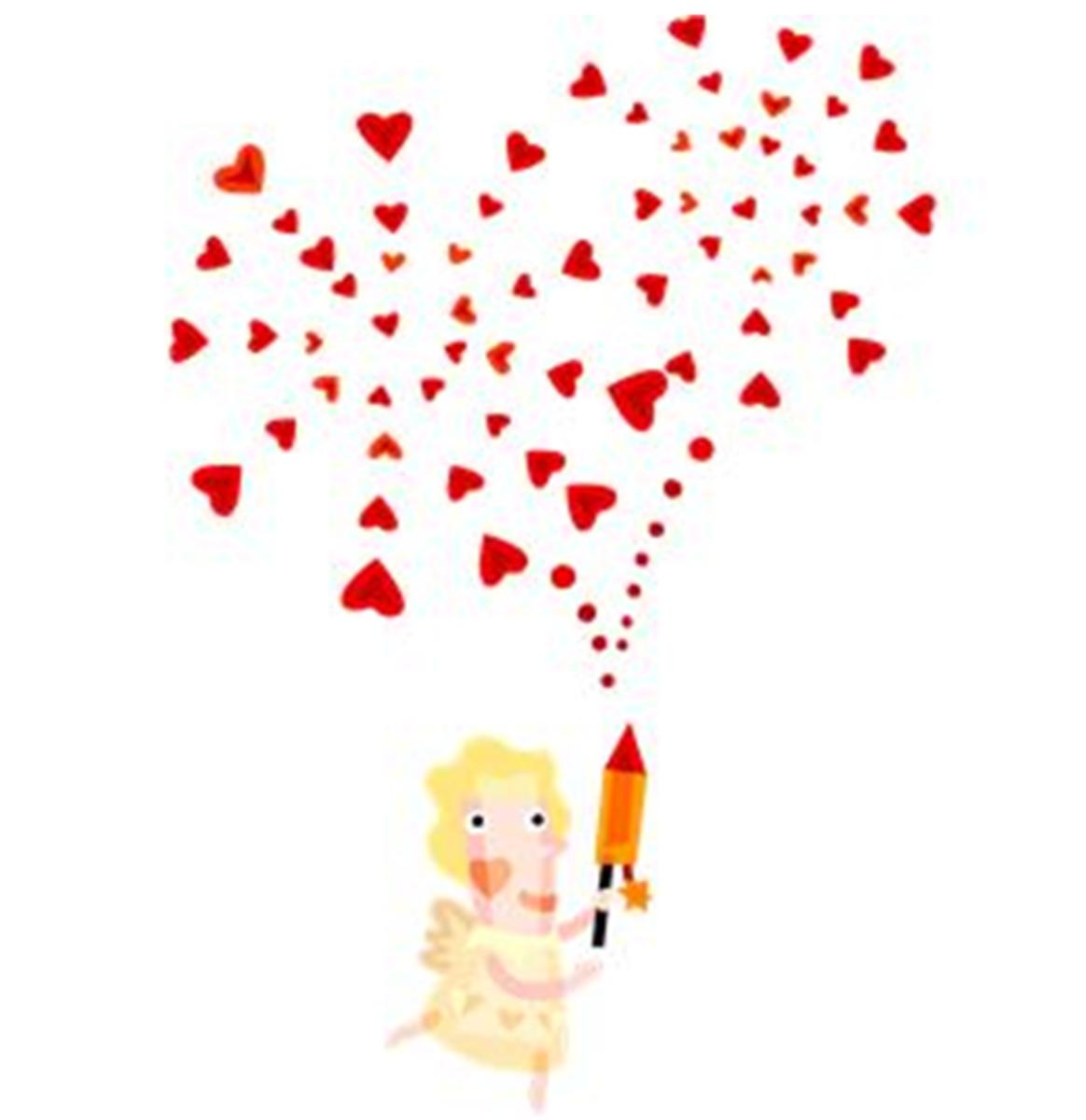 Modern Cupid Firing Fireworks