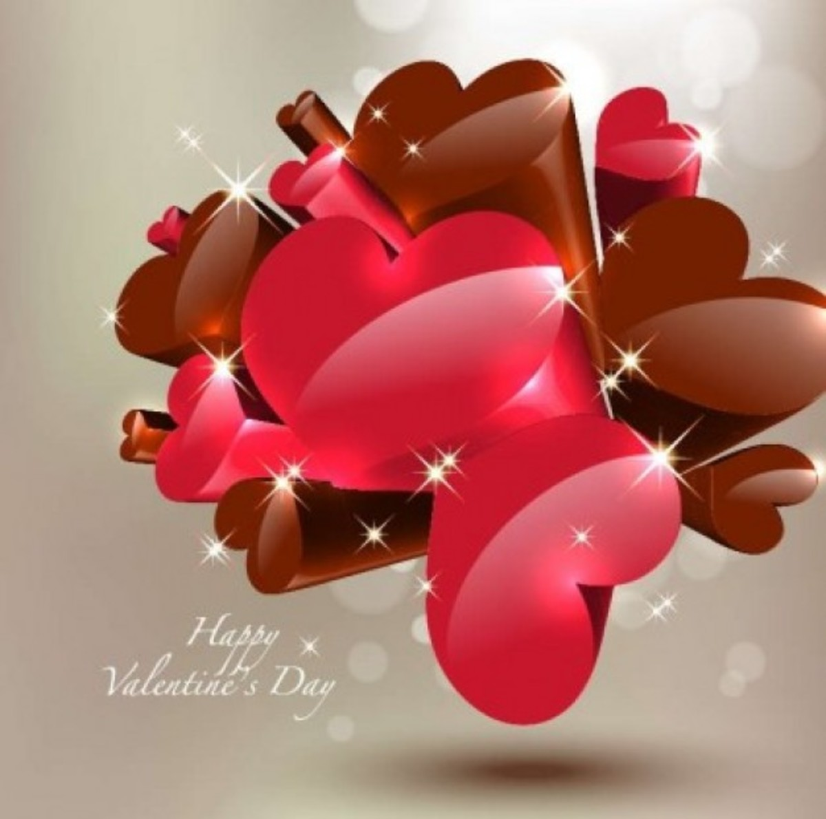 Happy Valentine's Day with Chocolate Hearts