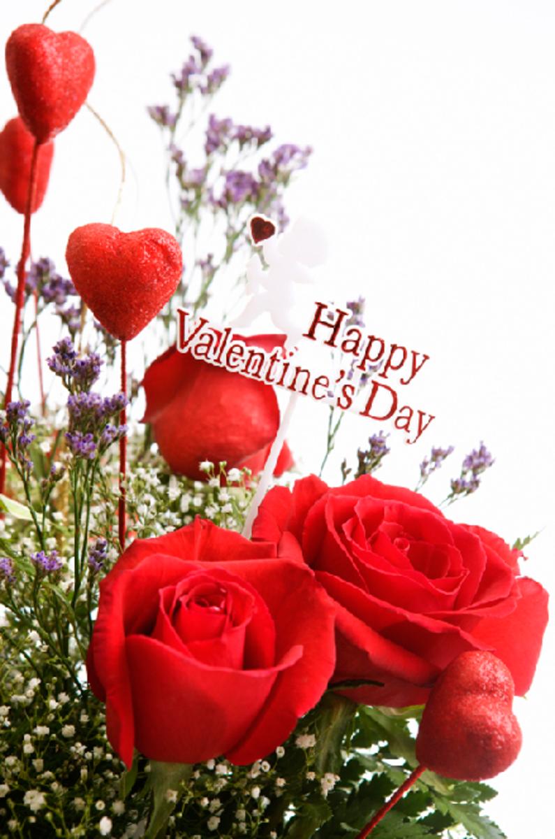 Happy Valentine's Day Sign on Flower Bouquet