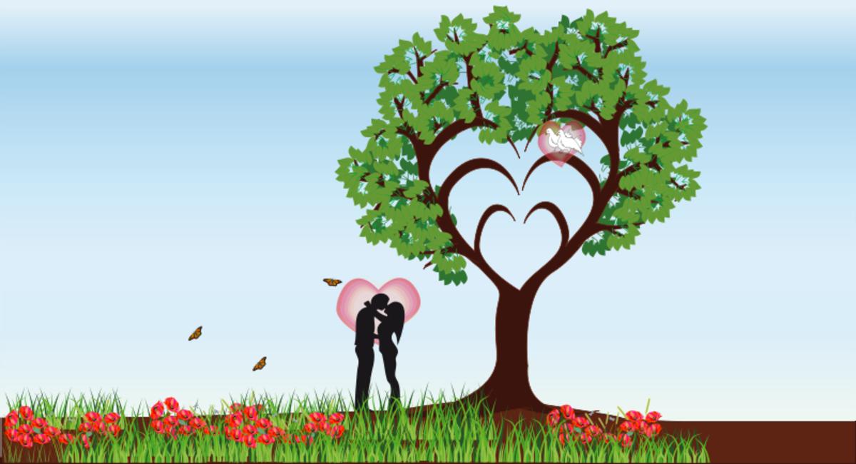 Romantic Couple under Tree of Love