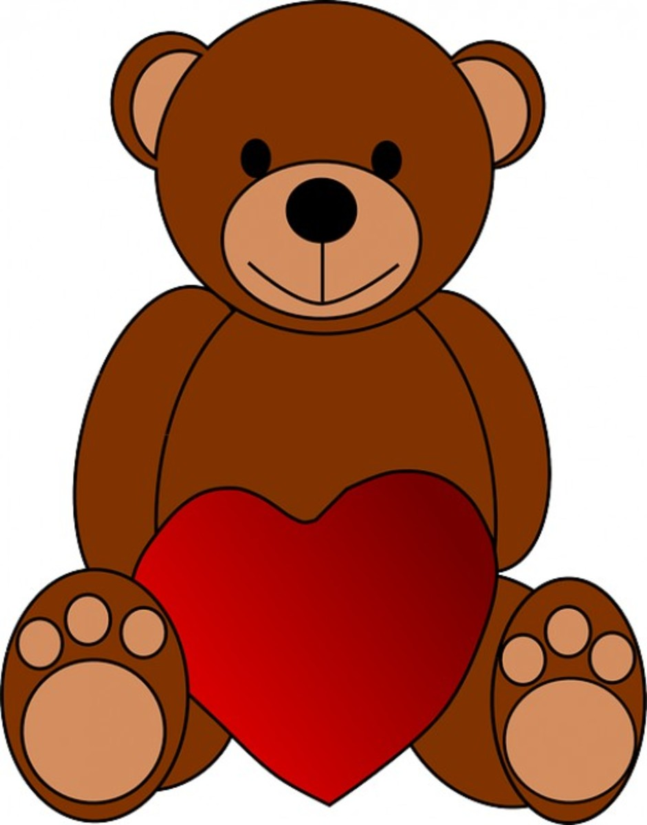 Smiling Teddy Bear with Valentine Heart