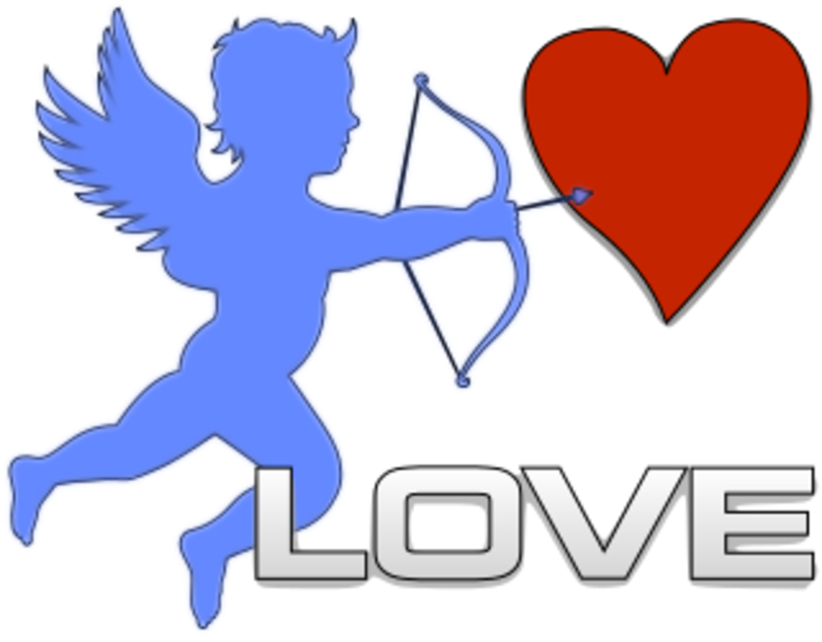 Cupid Shooting Arrow into Heart