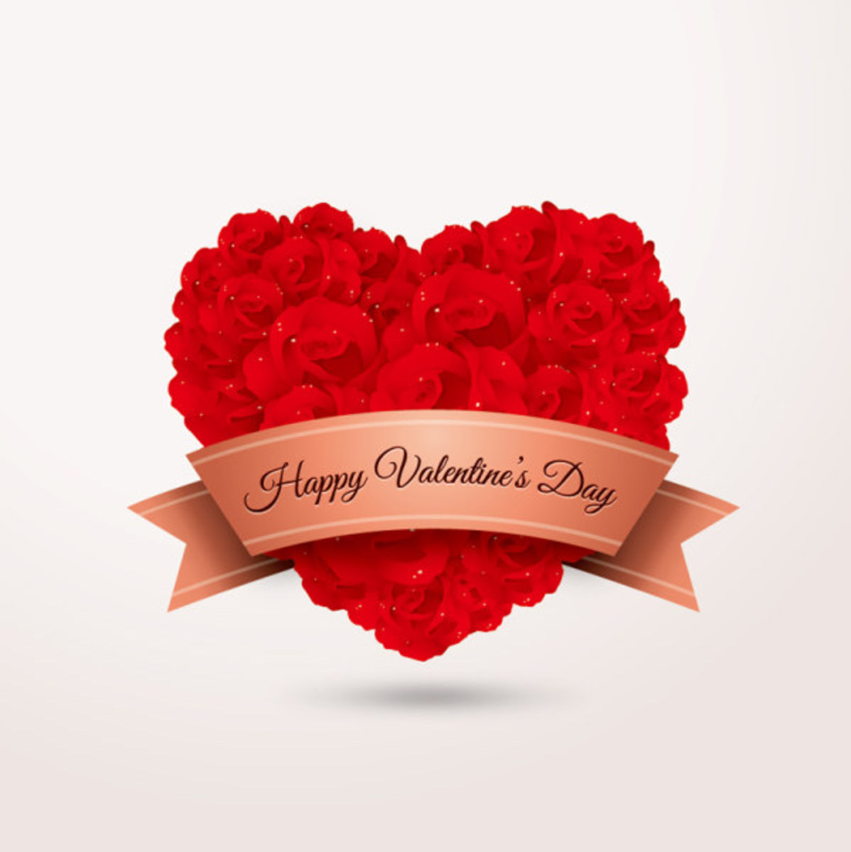 Happy Valentine's Day Banner with Heart of Roses
