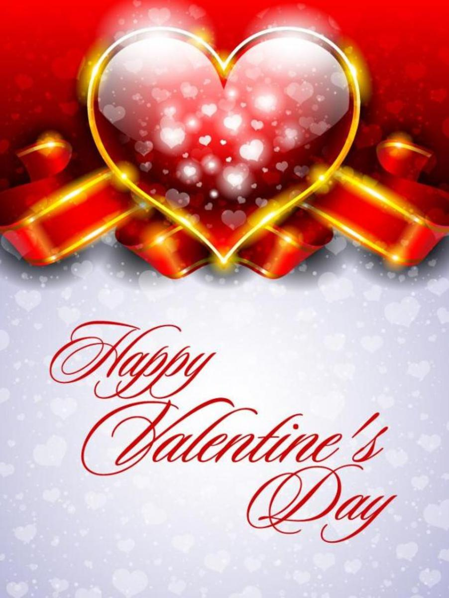 Happy Valentine's Day Card with Heart Snowflakes Falling