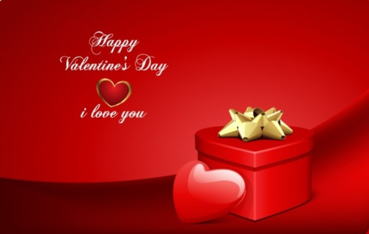 Happy Valentine's Day with Heart Gift Box