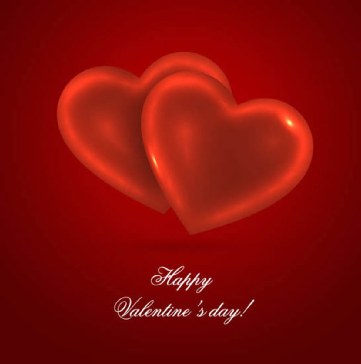 Happy Valentine's Day with Double Heart Image