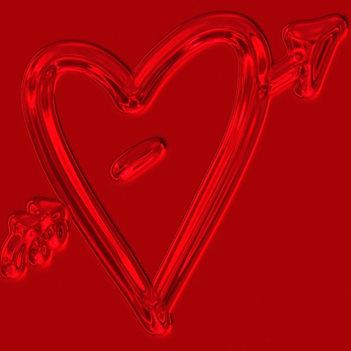 Neon Red Heart with Cupid Arrow