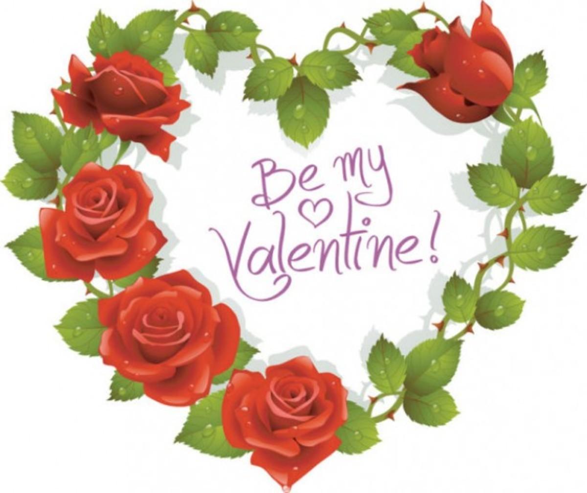 Be My Valentine in Heart Wreath