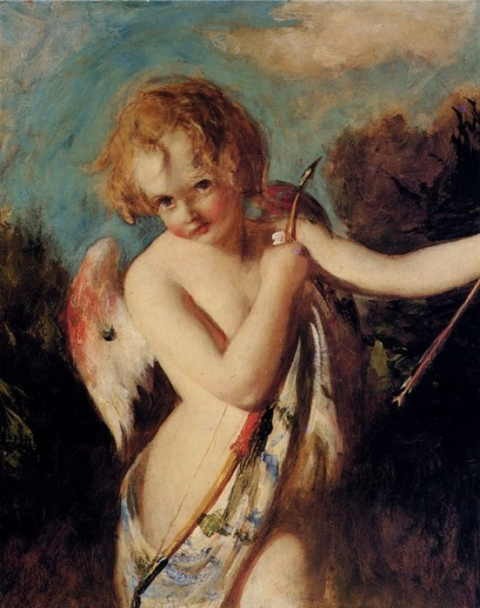 Painting of Cupid with Bow and Arrows