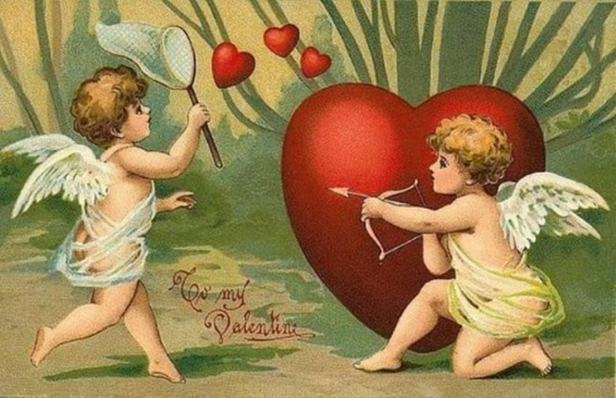 Cupids on Early Valentine's Day Card