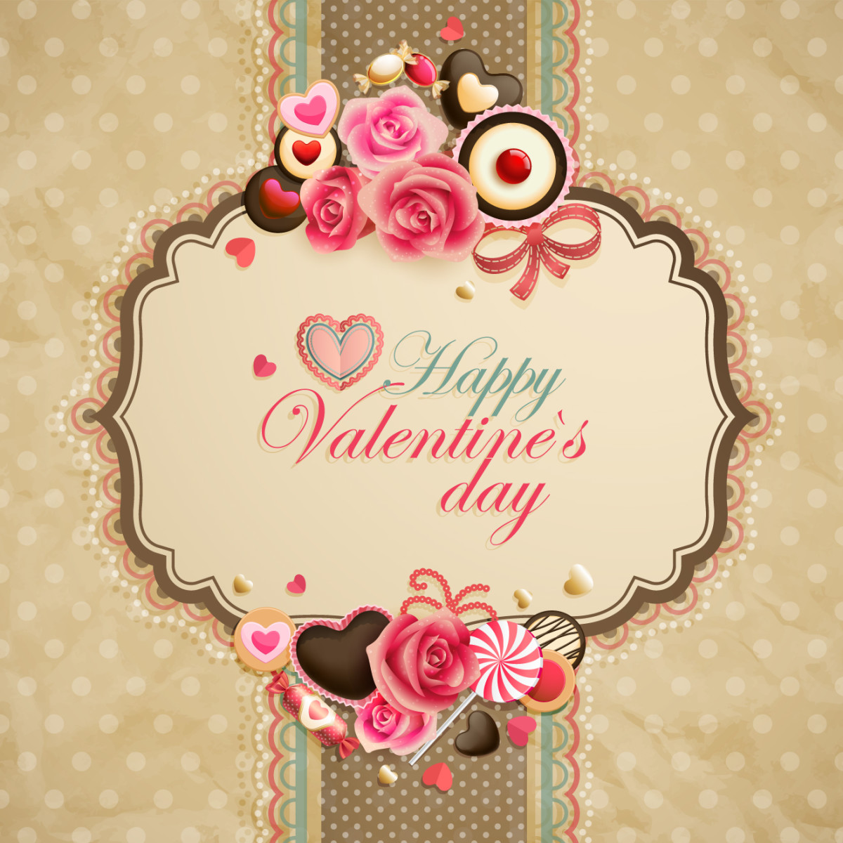 Happy Valentine's Day on a Ribbon