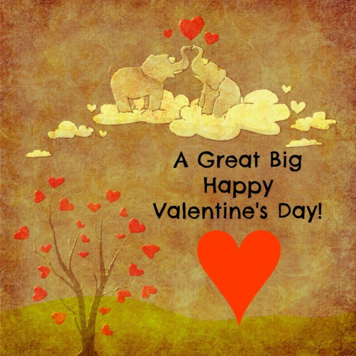 Happy Valentine's Day Message with Elephants in Love