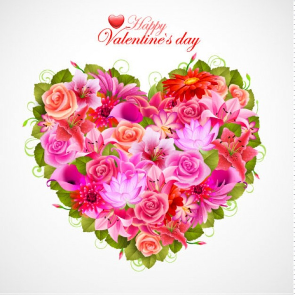 Happy Valentine's Day with Heart of Roses