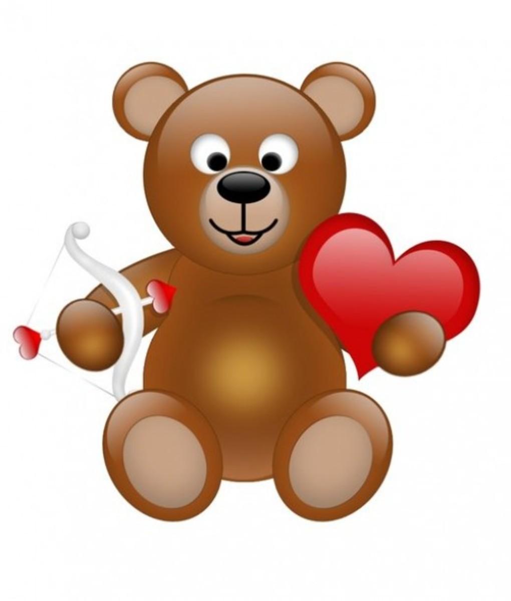 Teddy Bear with Cupid's Bow and Heart