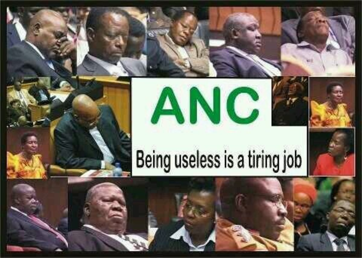 "Sleeping on the Job-ANC Parliamentarians Dozing-off. ""Theft,fraud and violence,South African MP's do it all.A culture of corruption has made the South African parliament one of the most scandal-ridden govrnments in the world whereby MP's are arrested"