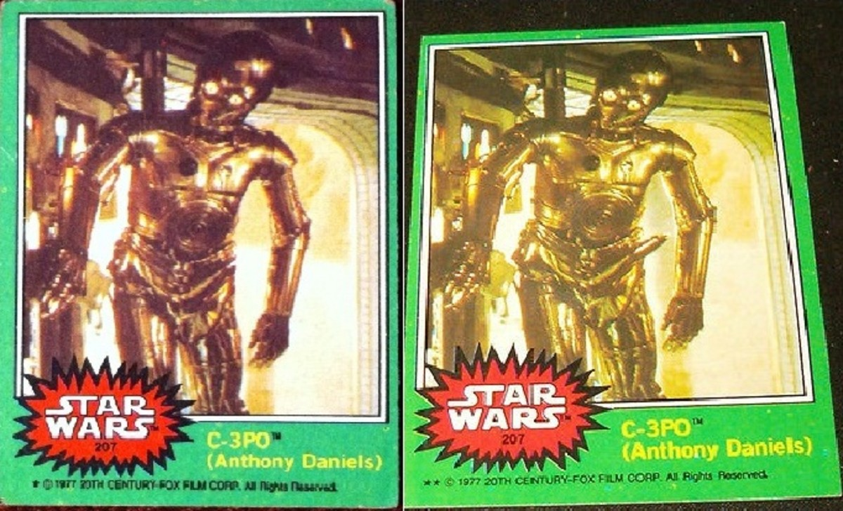 #207 C3PO Error Card, original error card on right and correct release on left.