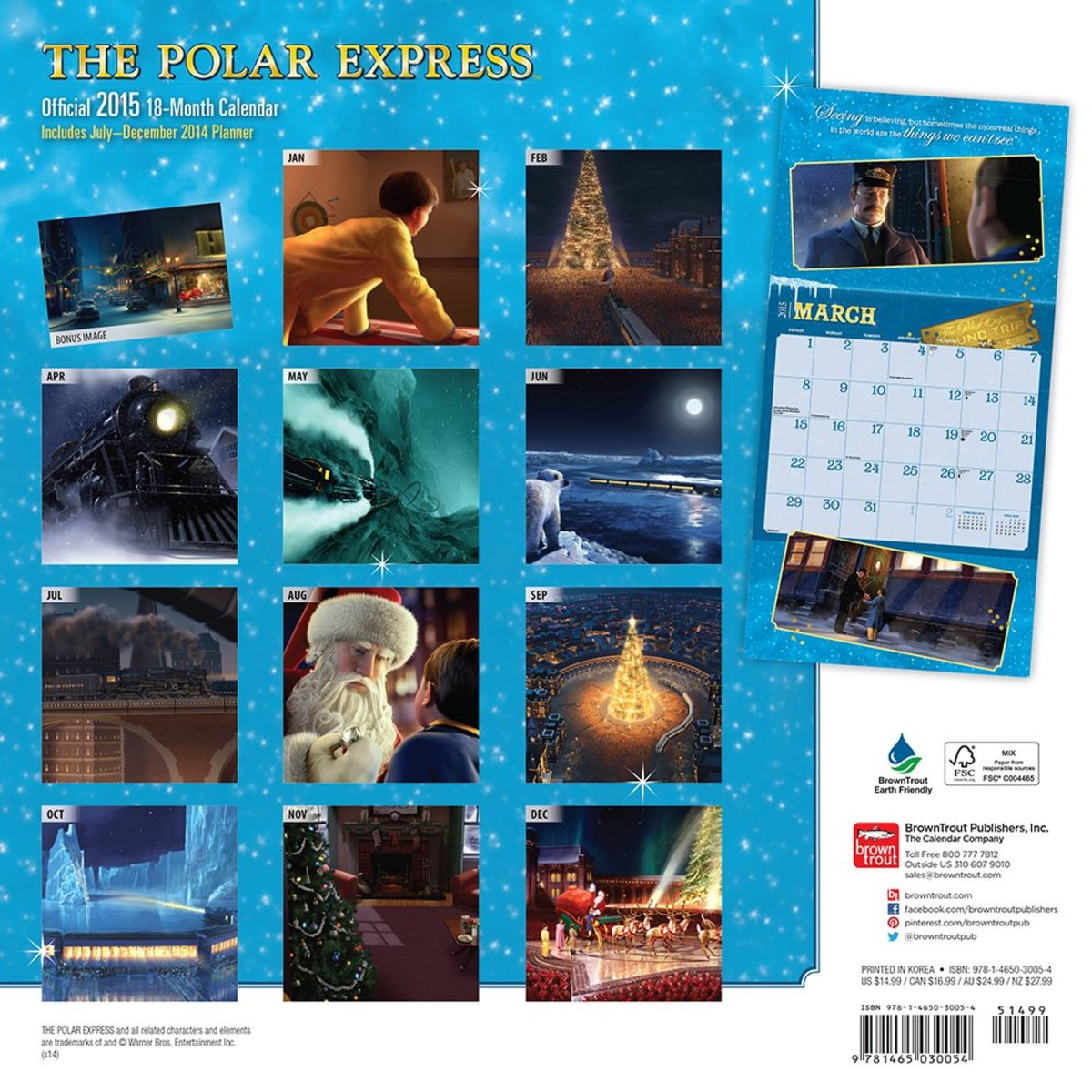 Polar Express 2015 Wall Calendar Back Cover