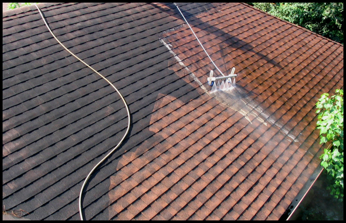 Pressure washing can easily damage roof shingles if you are not careful, so test the setting you use on loose shingles first.