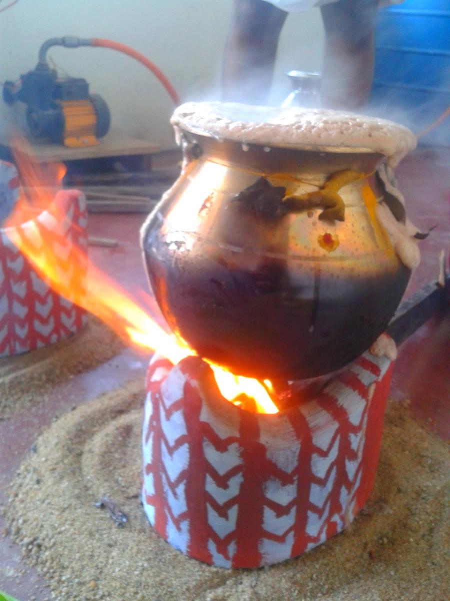 sweet pongal being prepared