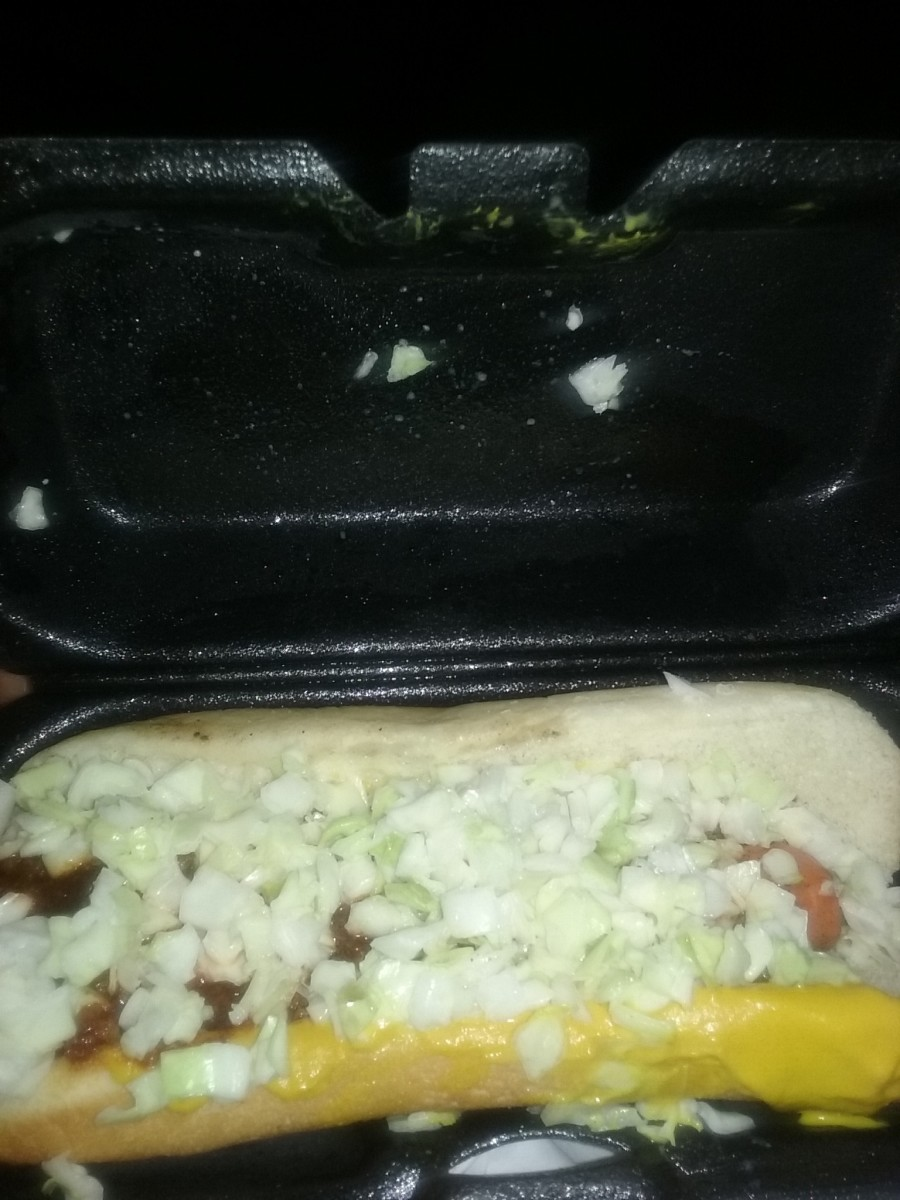 hot dog with chili, mustard and slaw, packaged neatly, served at Cook Out Fast Food Restaurant