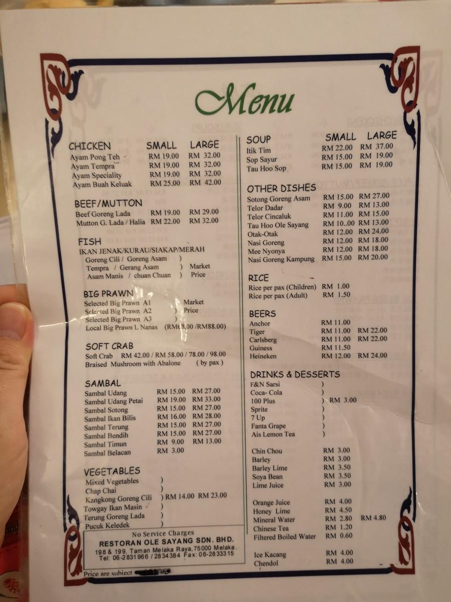Ole Sayang menu