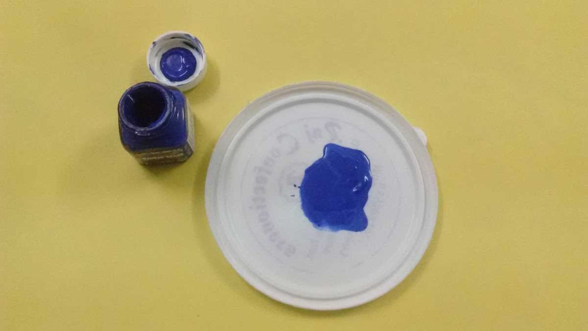 Take an acrylic water color paint of your choice and pour it in a plate.