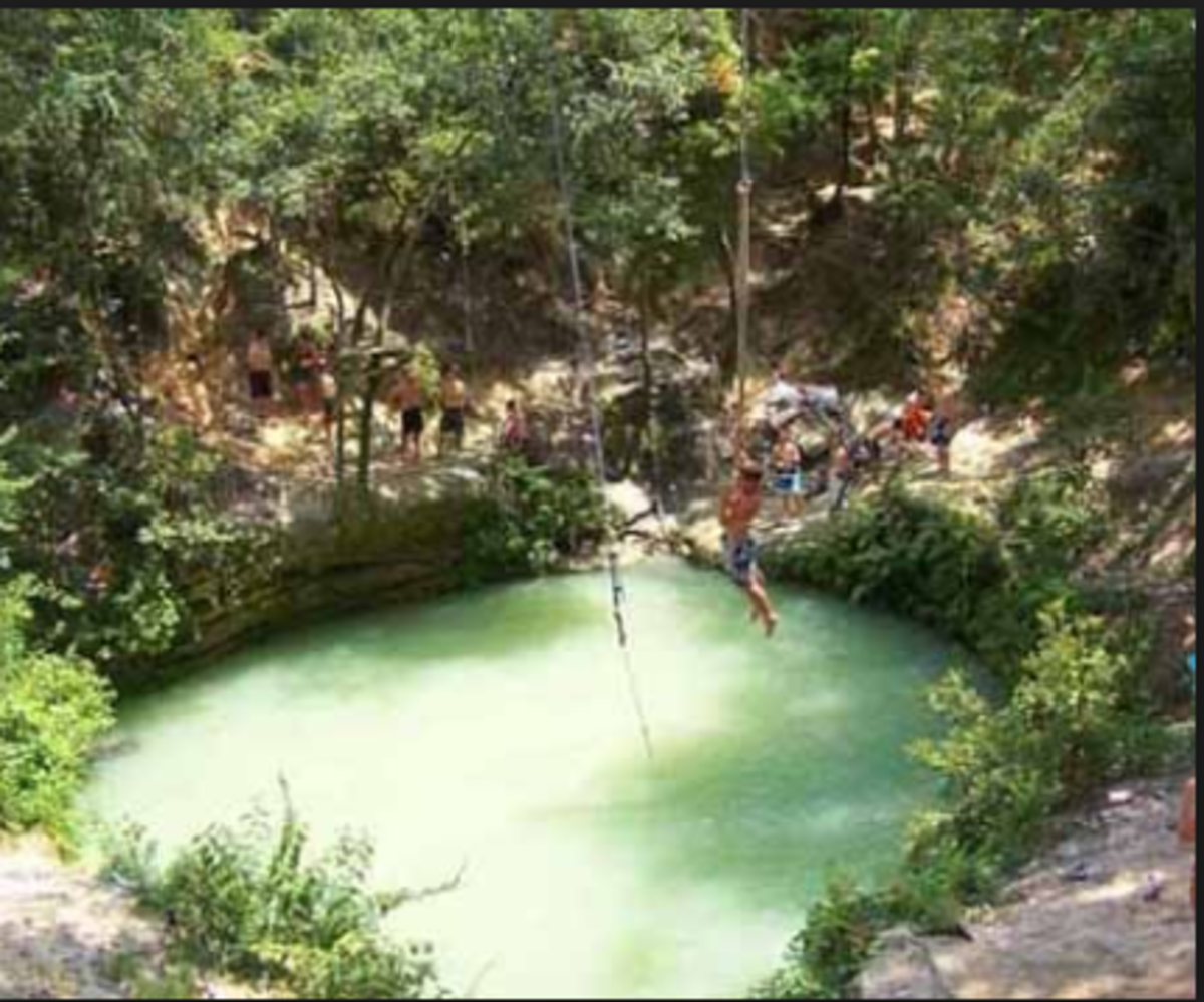 A sinkhole that attracts swimmers.