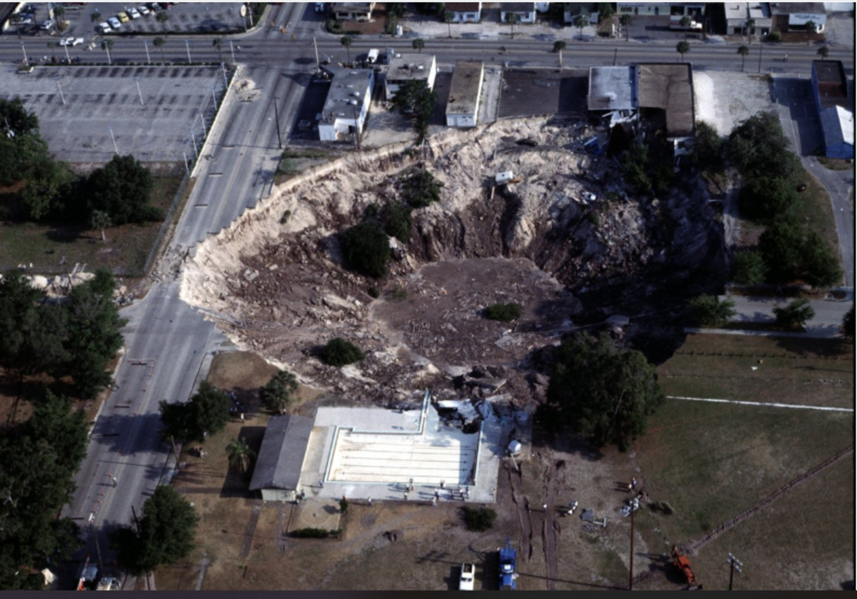 The Winter Park Sinkhole in Florida is 350 ft. wide and 170 ft. deep. .