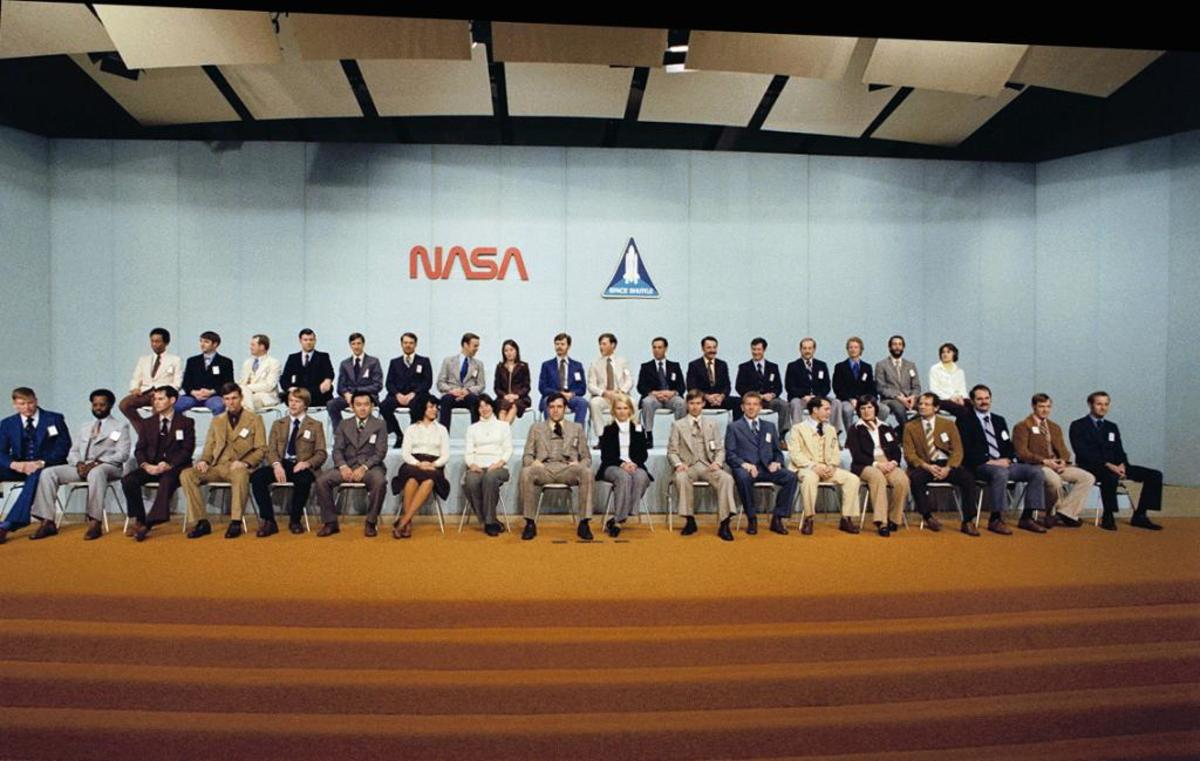 """The """"35 New Guys"""" of NASA. Dick Scobee appears in a commanding position front and center, in between pioneering women Sally Ride and Rhea Seddon."""