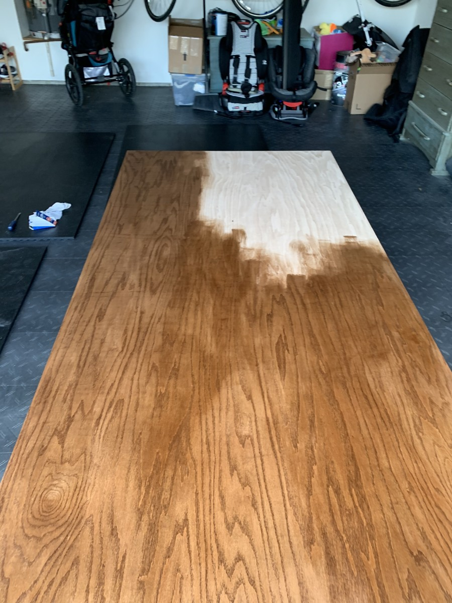 Staining plywood