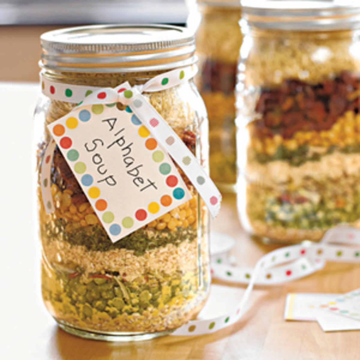 alphabet soup mix in a jar