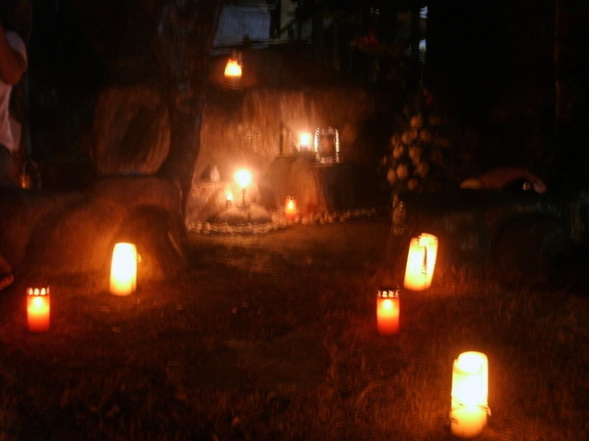 At night time at the graveyard.