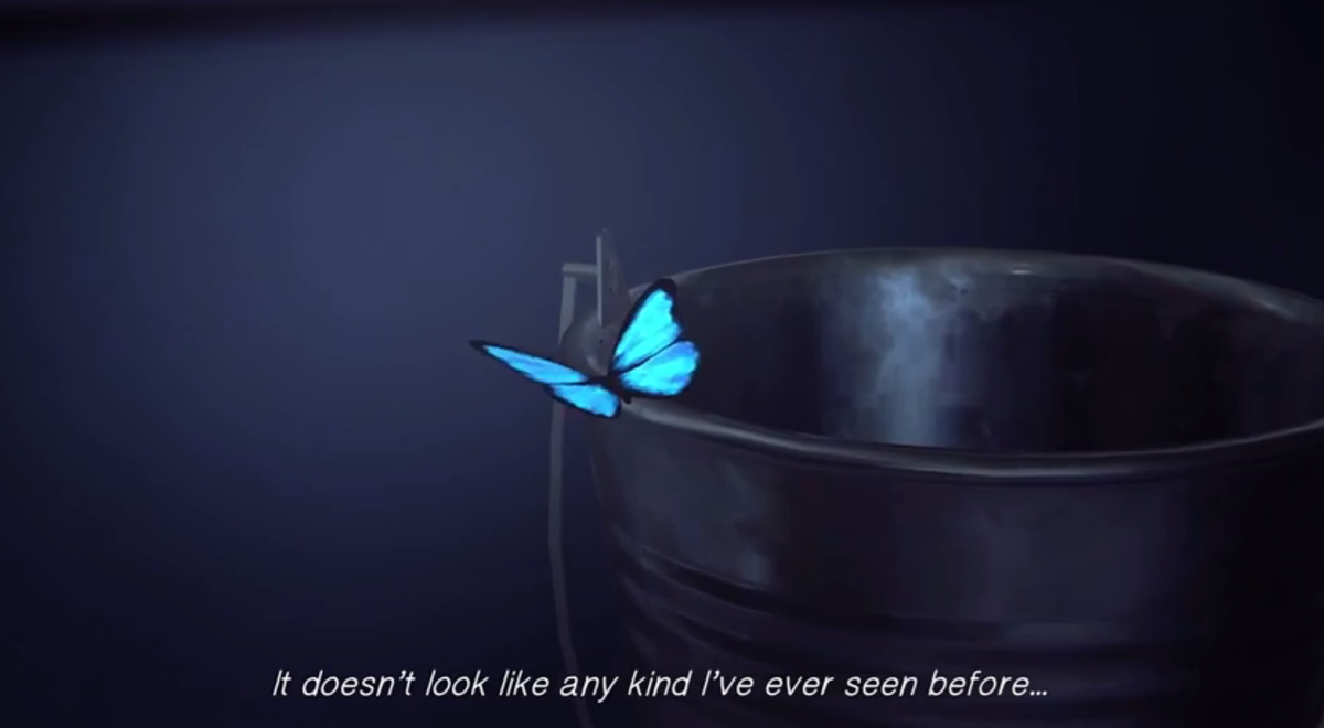 The first appearance of the blue butterfly coincides with the first appearance of Chloe.