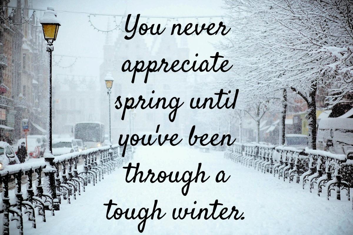 You never appreciate spring until you've been through a tough winter.