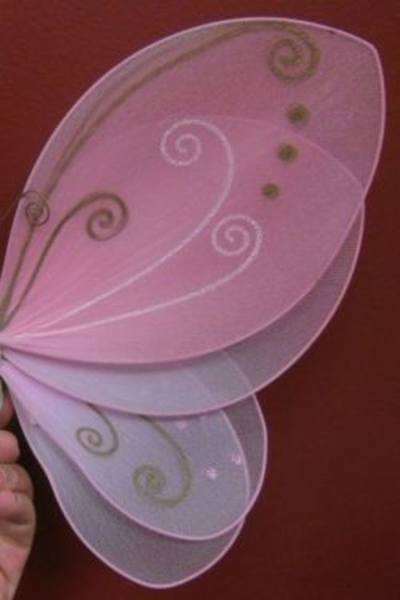 Close-up of layered fairy wings.  Several panels of the same or different shapes can be combined.