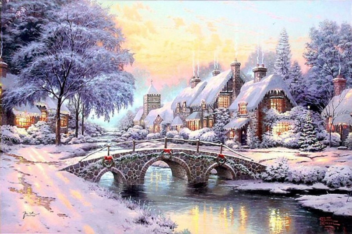 Cobblestone Christmas By Thomas Kinkade