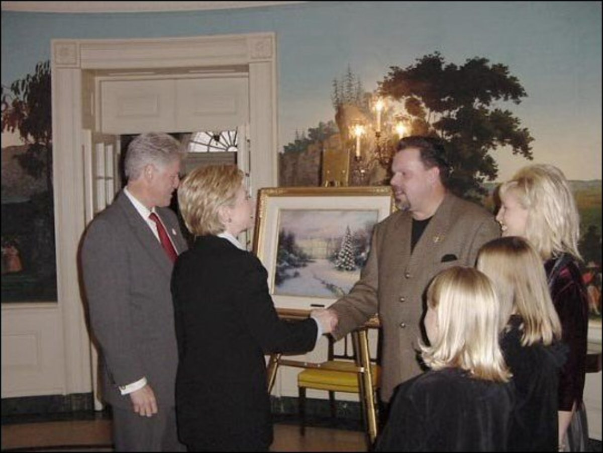 "Tom at the White House presenting his painting ""Lights of Liberty"" to the President and First Lady"