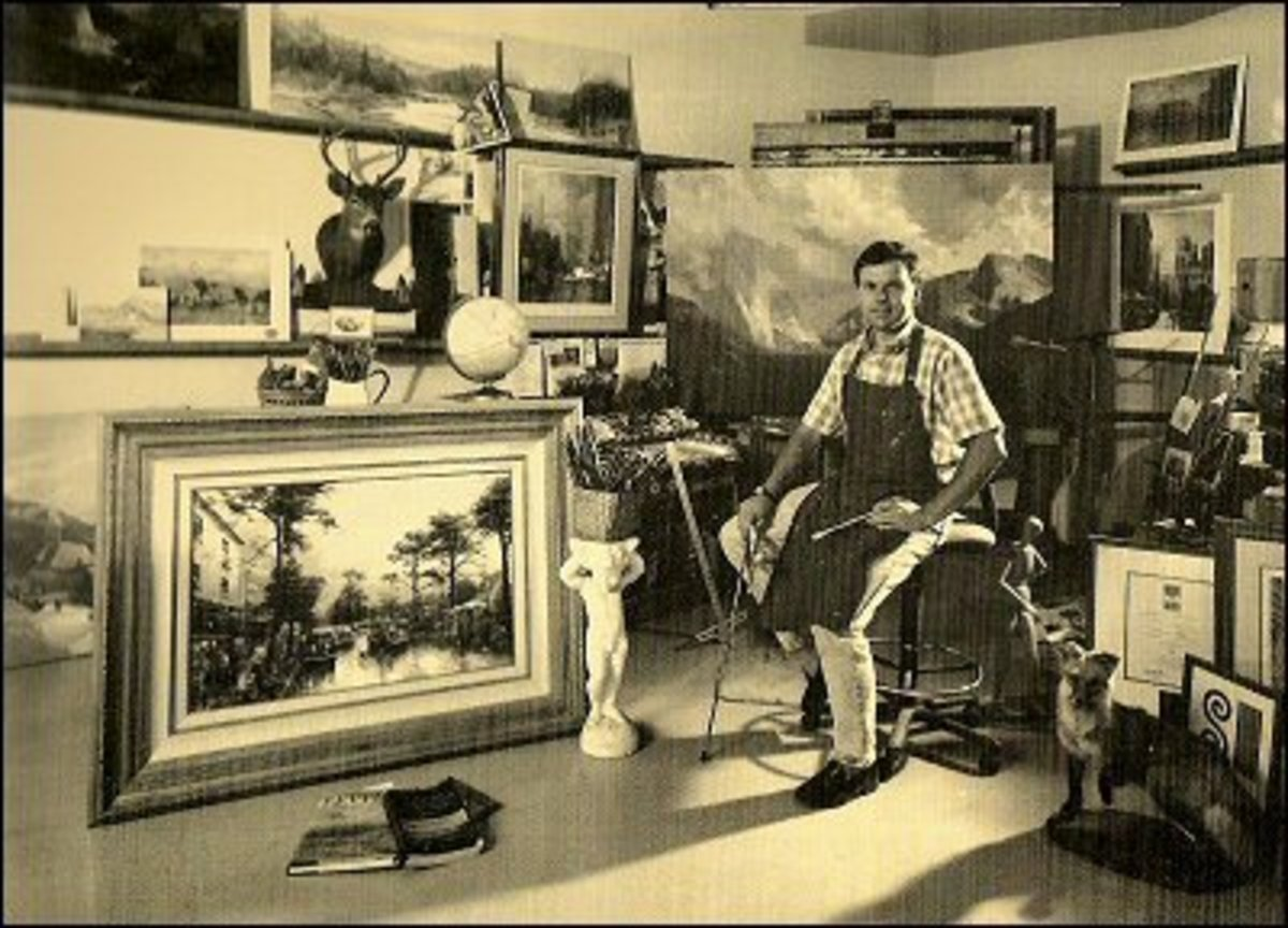 "Tom in his studio in 1989 with a completed ""Carmel, Sunset on Ocean Avenue"" Painting"