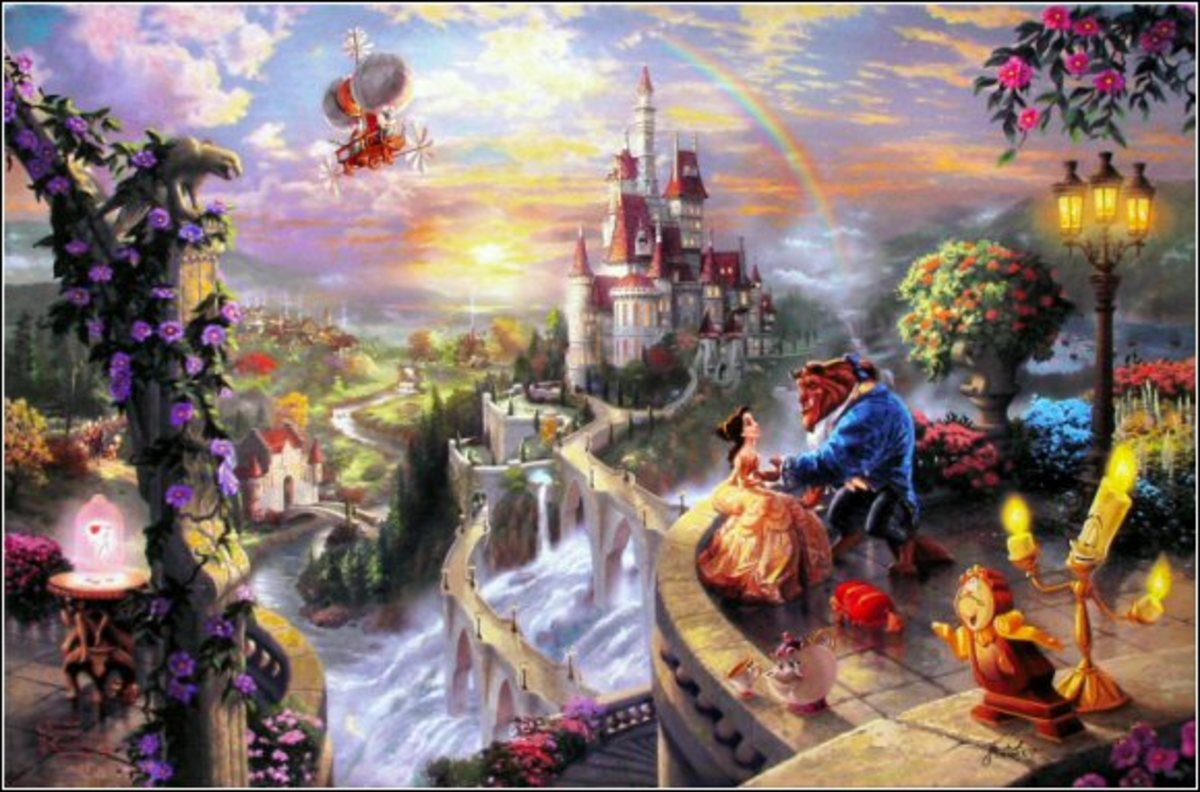 """Beauty and the Beast Falling in Love"" Disney Dreams VI by Thomas Kinkade"