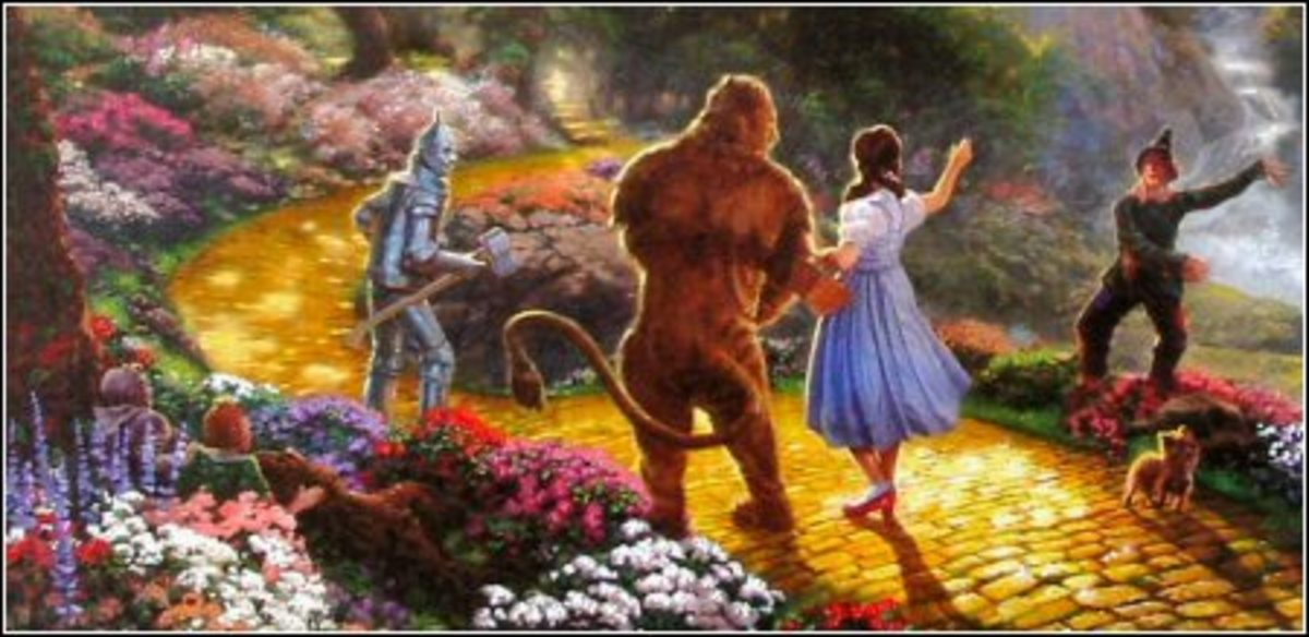 """Detail of """"Dorothy Discovers the Emerald City"""" by Thomas Kinkade"""
