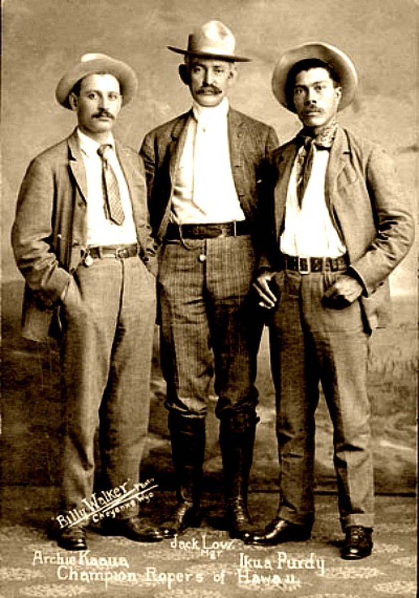 Left to right: Archie Ka`pua, Jack Low and Ikua Purdy.