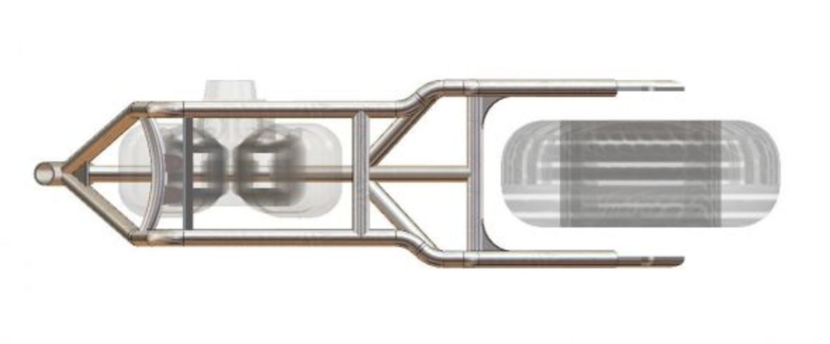 overhead view of sportster frame