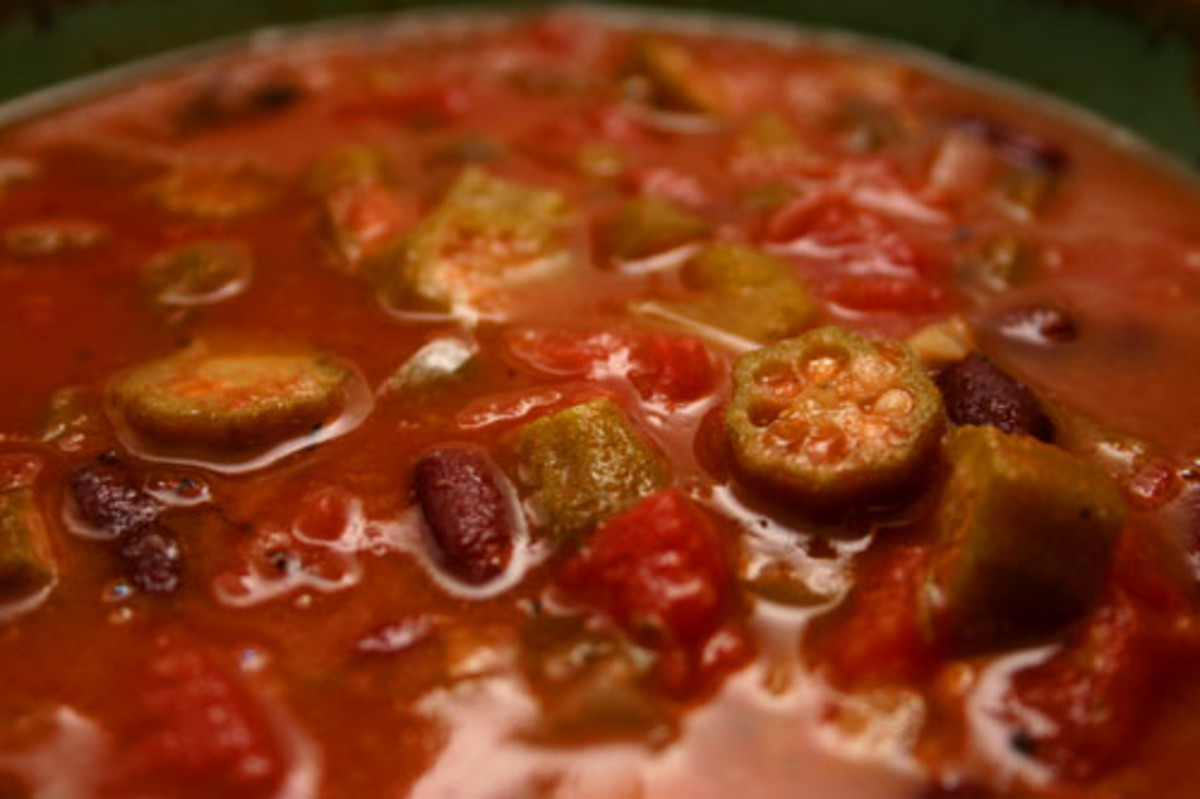 Vegetarian Okra Gumbo Recipe with Kidney Beans