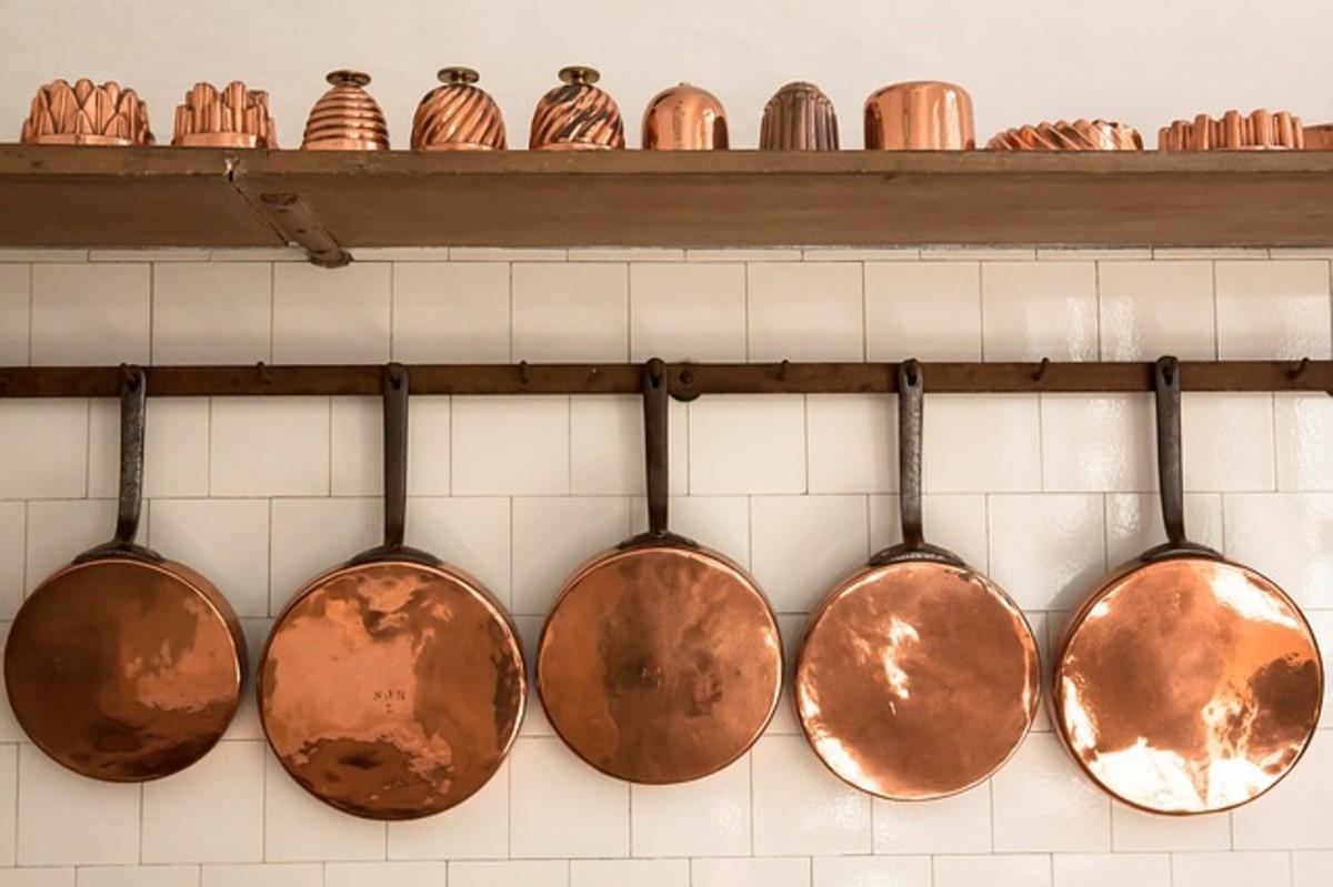 Copper pots, pans, and molds