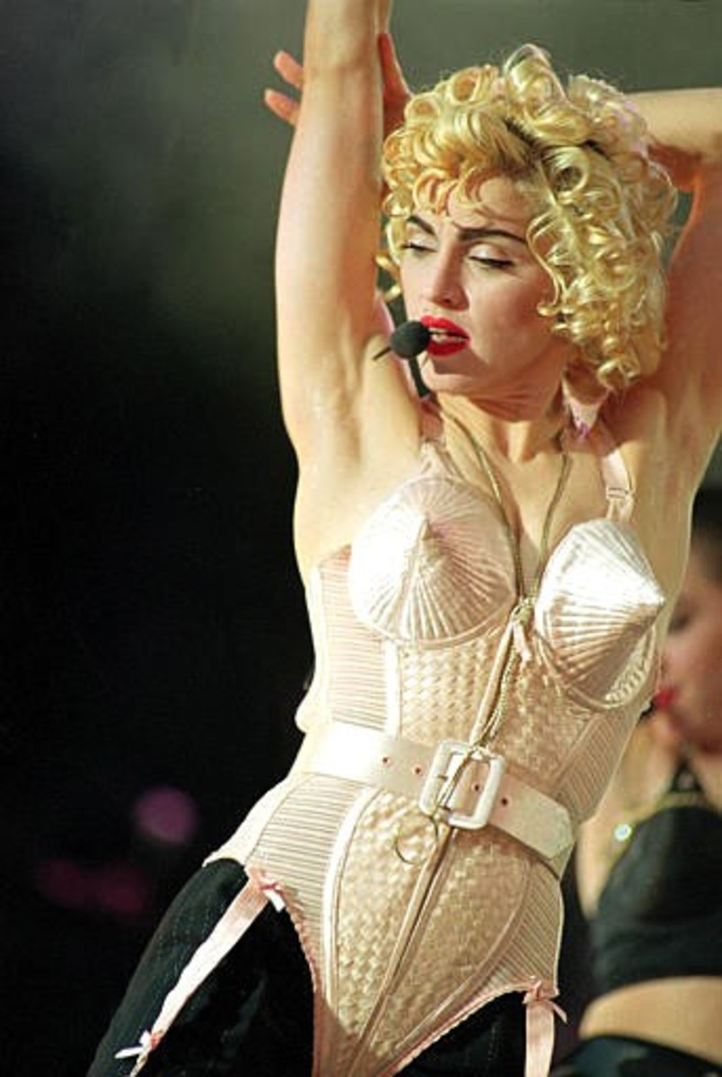Madonna's outlandish stage attire heavily influenced 1980s fashions