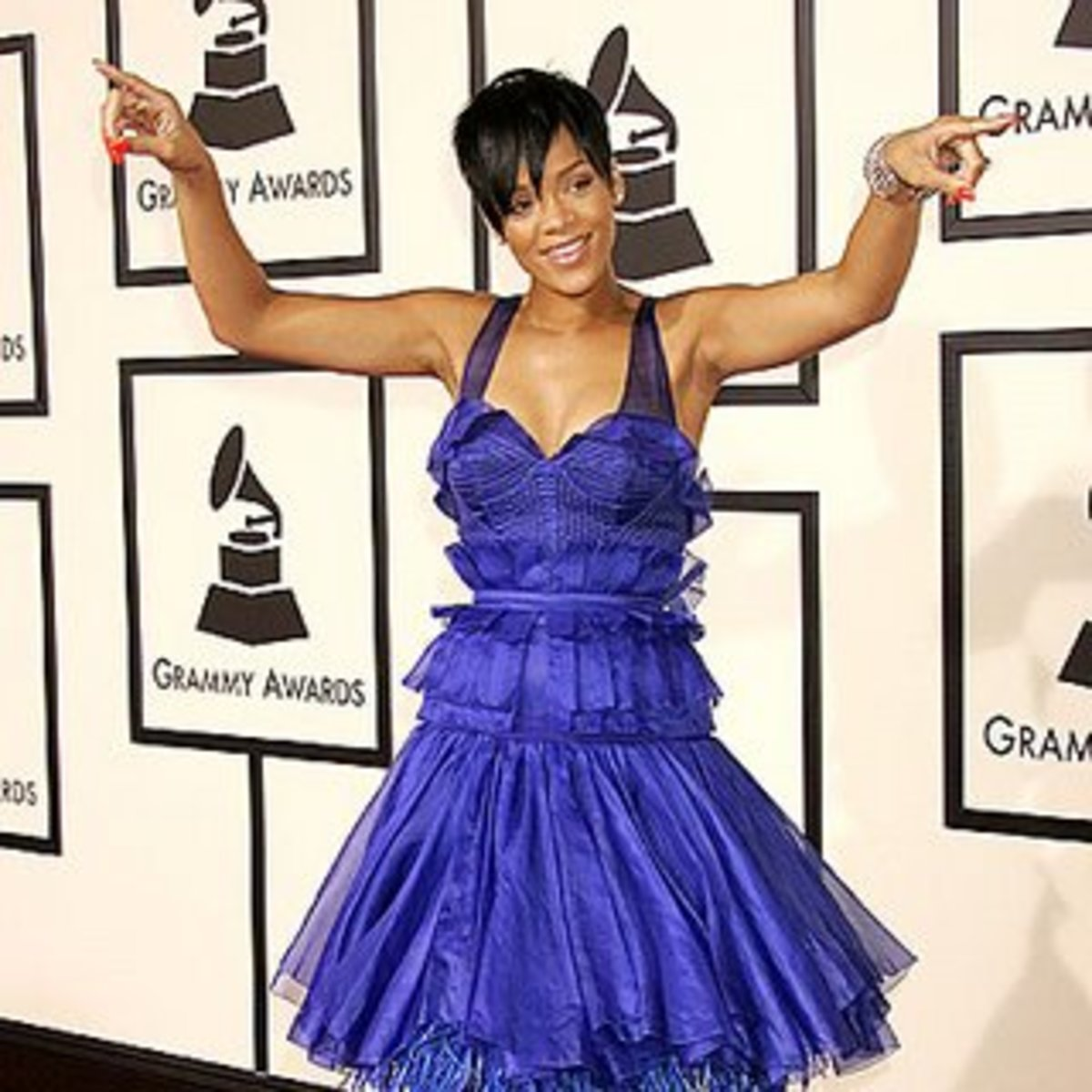 Singer Rihanna at the 2008 Grammy Awards in Zac Posen Cone Bra creation