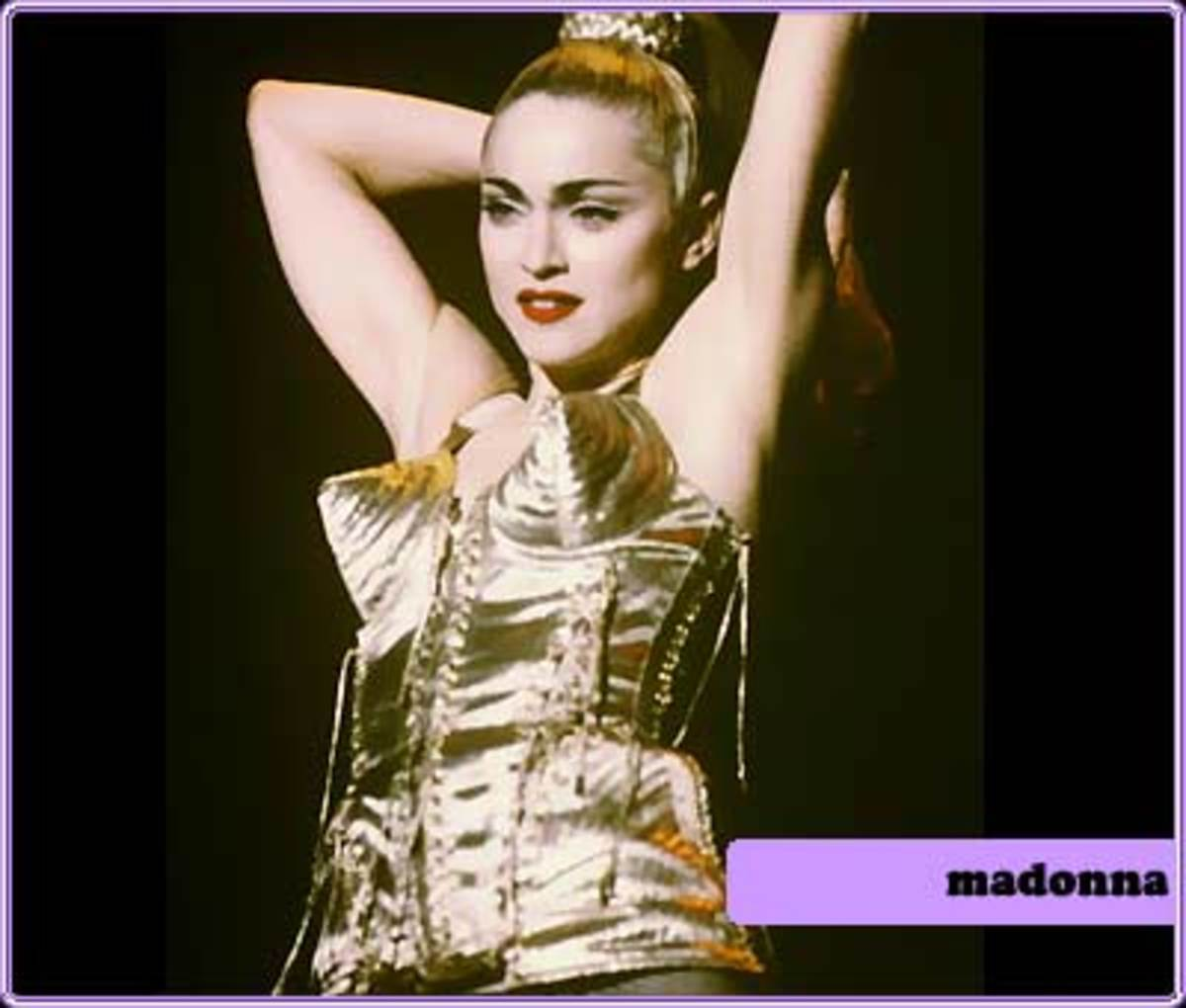 "Madonna on stage for her ""Blonde Ambition"" tour, 1991"