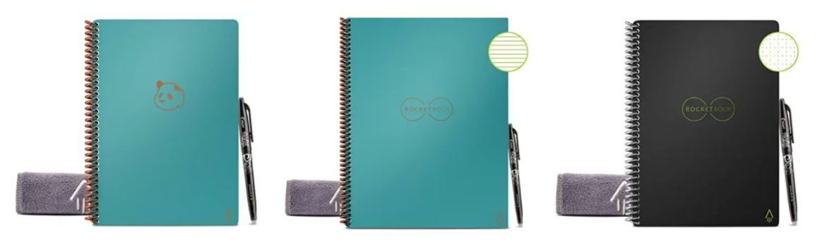 Rocketbooks come in a variety of styles for taking notes, uploading to the cloud (with an app), and then wiping them off to reuse.